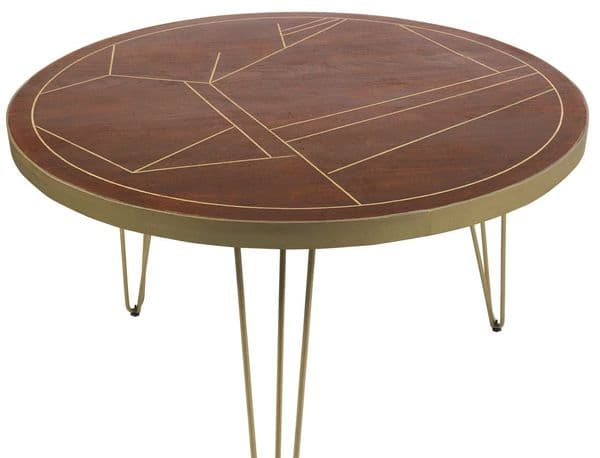 Brecon Dark Solid Mango Round or Rectangular Dining Tables with Metal Inlaid Tops and Hairpin Legs